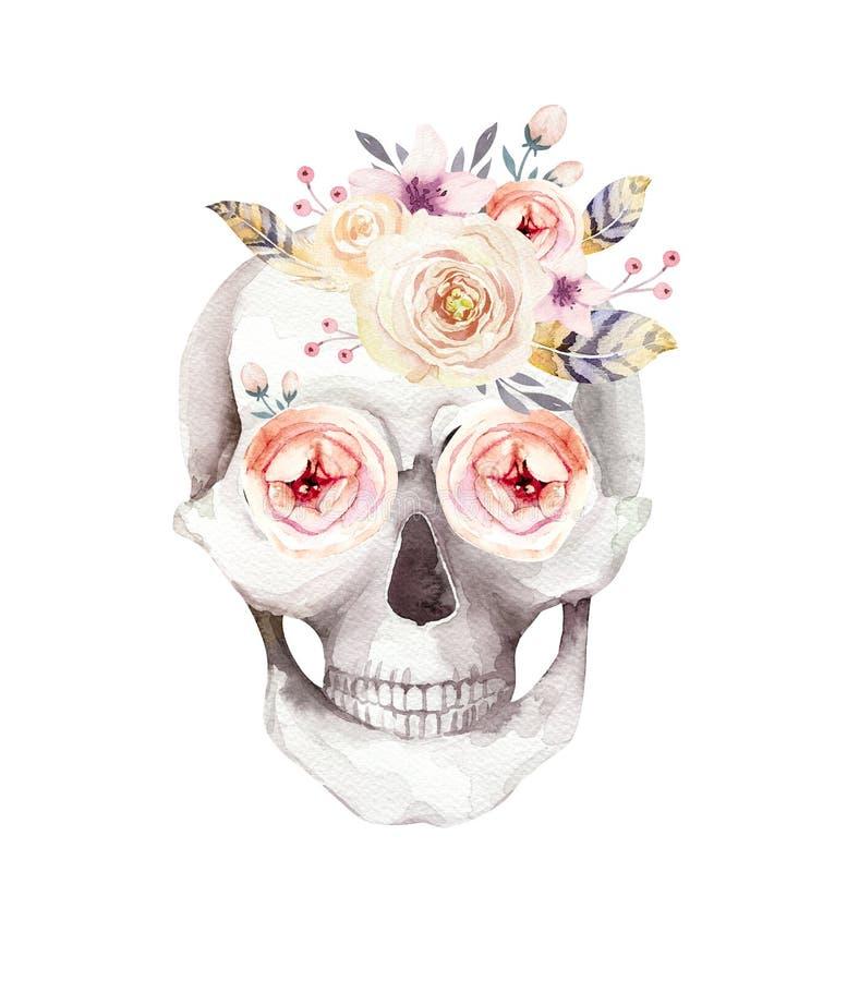Menselijke waterverfschedel met bloemenboeketten De hoofdwijnoogst helloween illustratie Retro ontwerp van de tatoegeringsdood stock illustratie