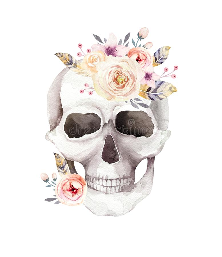 Menselijke waterverfschedel met bloemenboeketten De hoofdwijnoogst helloween illustratie Retro ontwerp van de tatoegeringsdood royalty-vrije illustratie