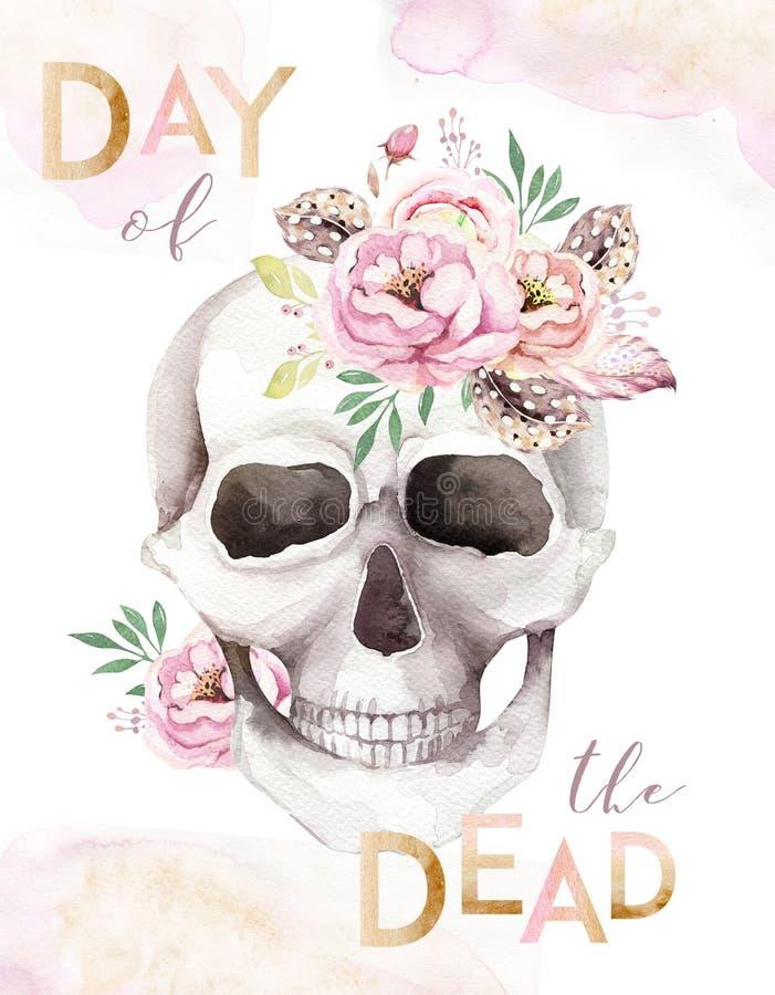 Menselijke waterverfschedel met bloemenboeketten De hoofdwijnoogst helloween illustratie Retro ontwerp van de tatoegeringsdood vector illustratie