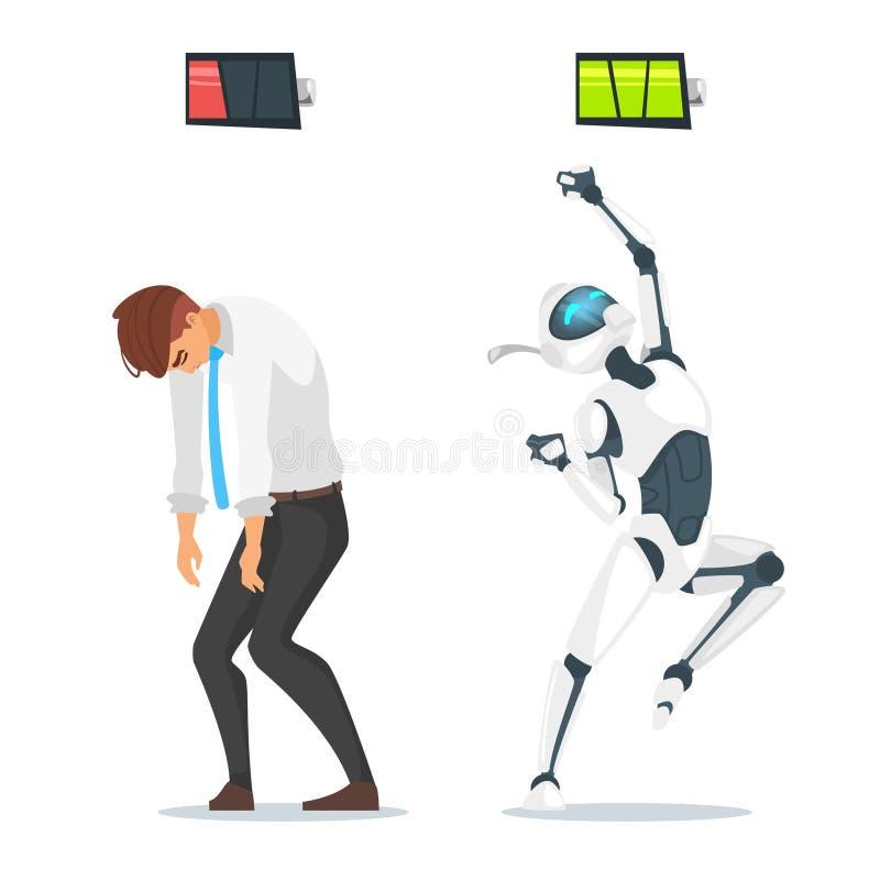 Menselijke zakenman versus robot royalty-vrije illustratie