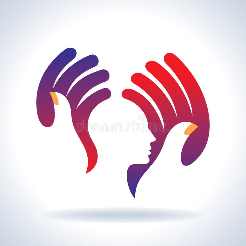 Menselijke zorg met handen stock illustratie