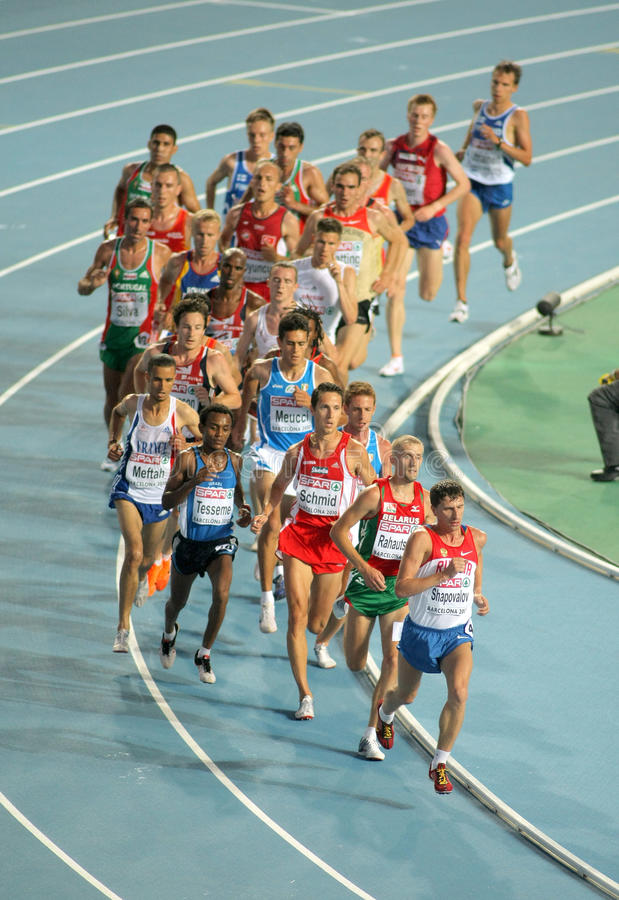 Mensen 10000m def. tijdens 20ste Europese Atletisch stock foto