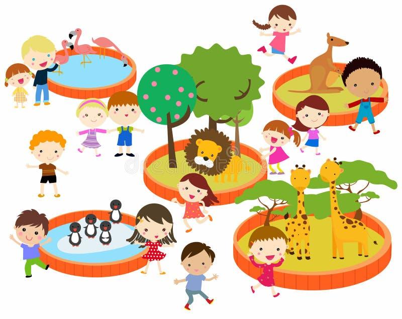 Mensen aan de dierentuin vector illustratie