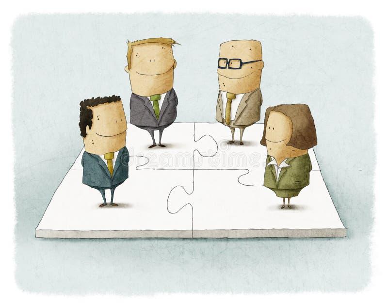 Mensen als stukken van een bedrijfsraadsel vector illustratie