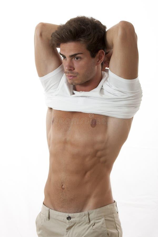Mensen atletische opstijgende witte t-shirt stock fotografie