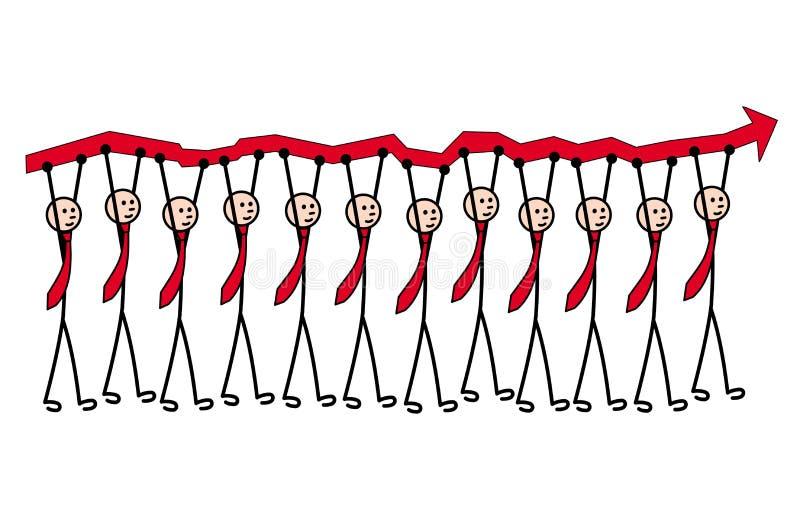 12 mensen in banden dragen een rode pijl, een de groeigrafiek Metafoor van leiding en groepswerk royalty-vrije illustratie