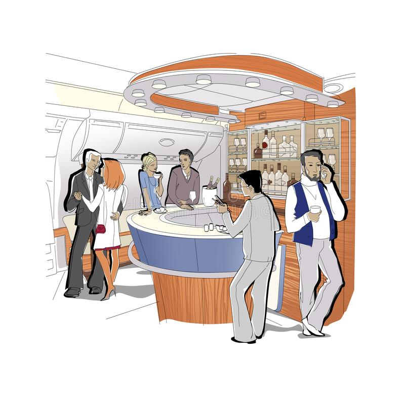 Mensen in bar de zaken-klasse vliegtuigen Een paar danst, spreekt een mens op de telefoon Ge?soleerdj op witte achtergrond stock illustratie