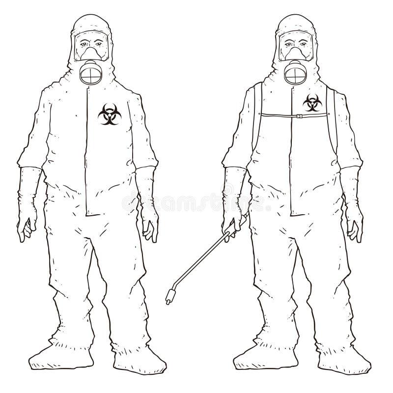 Mensen in beschermend kostuum vector illustratie