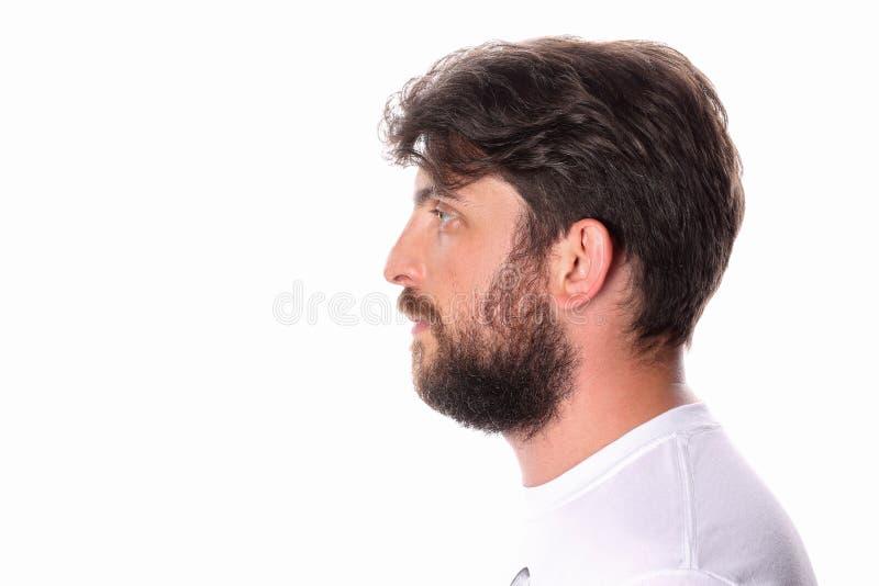 Mensen bevindend profiel in een witte T-shirt Sluit omhoog stock afbeelding