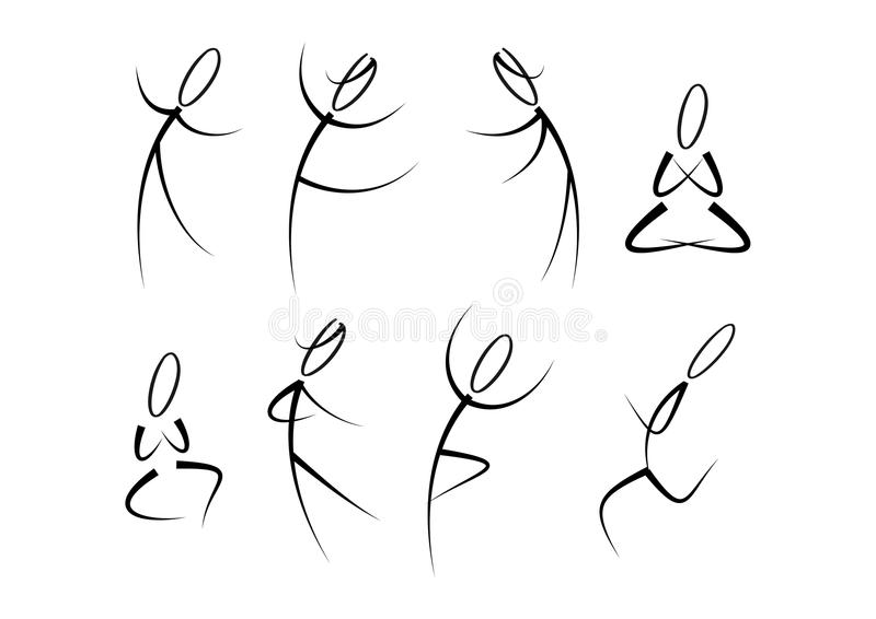 Mensen in beweging (fitness, sporten, yoga,?) stock illustratie