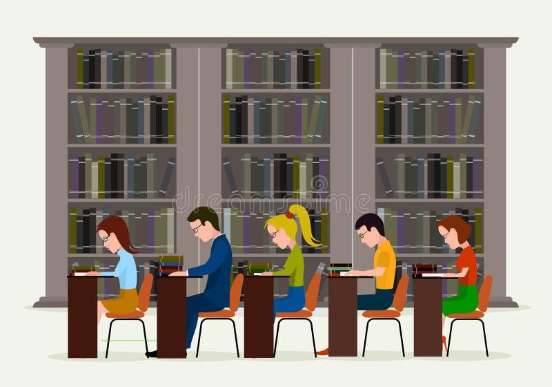 Mensen in bibliotheek Concept onderwijs Het lezen in bibliotheek royalty-vrije illustratie