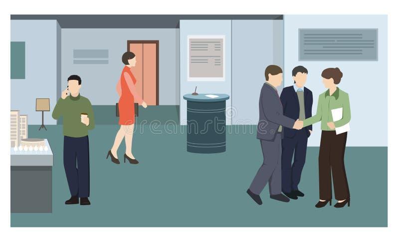 Mensen bij de bedrijfstentoonstelling stock illustratie