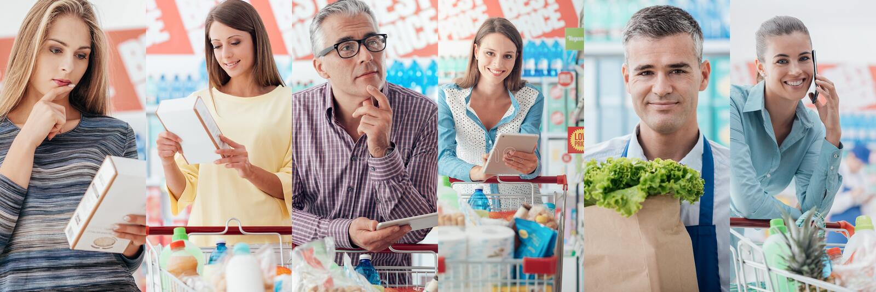 Mensen bij de Supermarkt royalty-vrije stock afbeelding