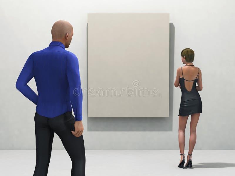 Mensen bij de tentoonstelling royalty-vrije illustratie