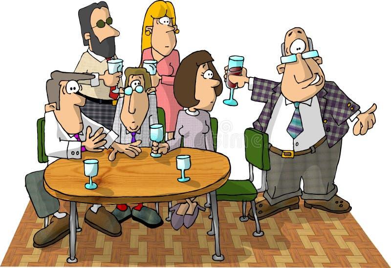 Mensen bij partij het drinken stock illustratie