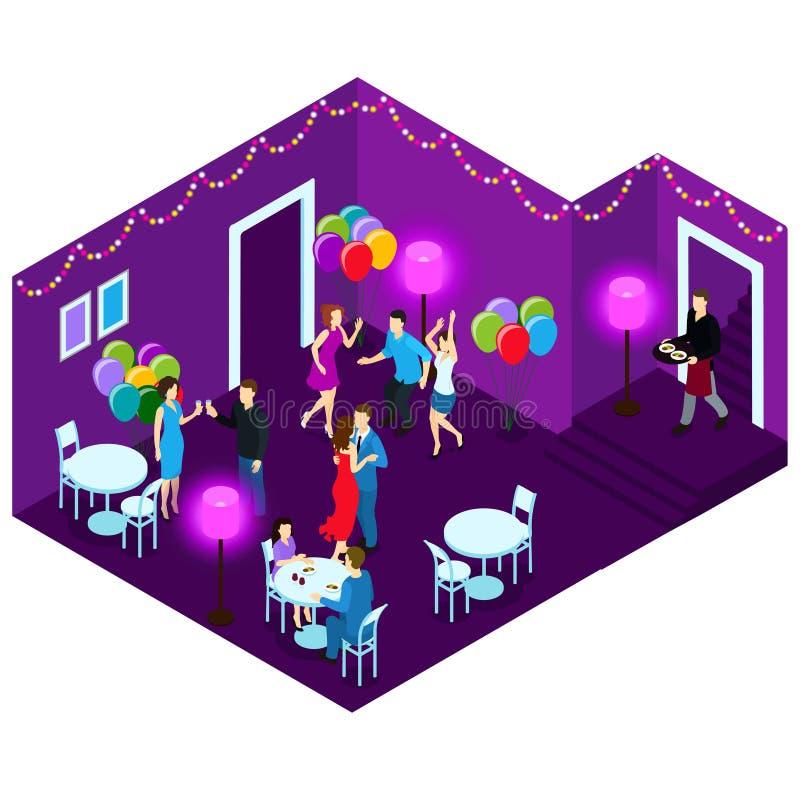 Mensen bij Partij Isometrische Illustratie royalty-vrije illustratie