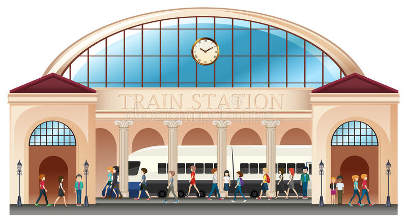 Mensen bij station vector illustratie