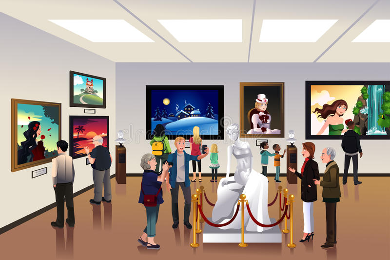 Mensen binnen een museum royalty-vrije illustratie
