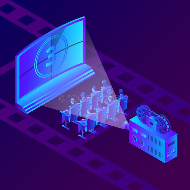 Mensen in bioskoop het letten op film De vector isometrische illustratie van neongradiënten Filmfestival en vermaakconcept royalty-vrije illustratie