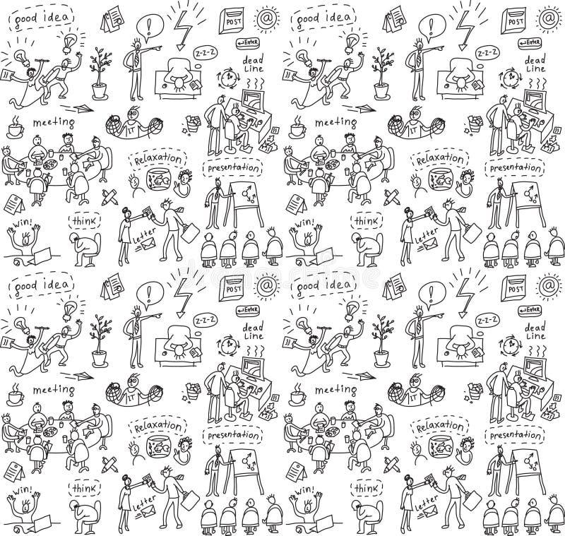 Mensen in bureau naadloos patroon vector illustratie