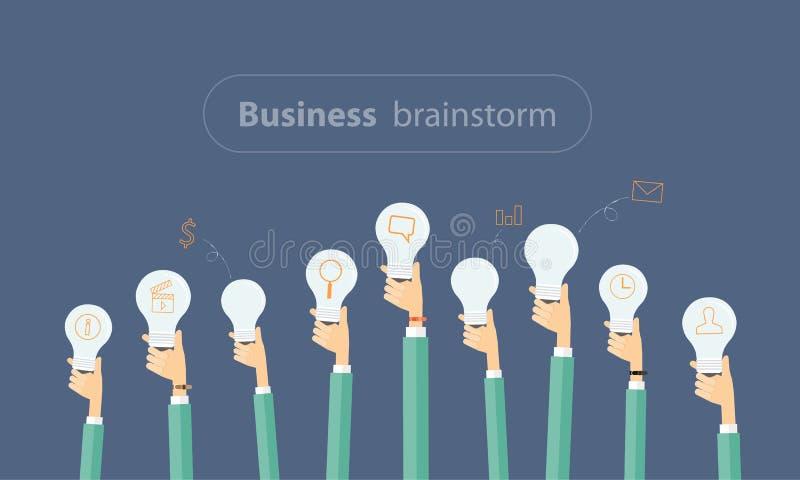 Mensen commerciële vergadering en uitwisseling van ideeën aan creatieve zaken stock illustratie