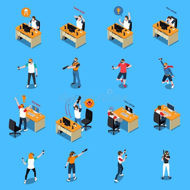 Mensen in Cyber-Sport Isometrische Reeks vector illustratie
