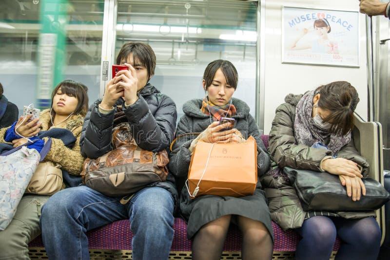 Mensen in de metro van Tokyo royalty-vrije stock foto's