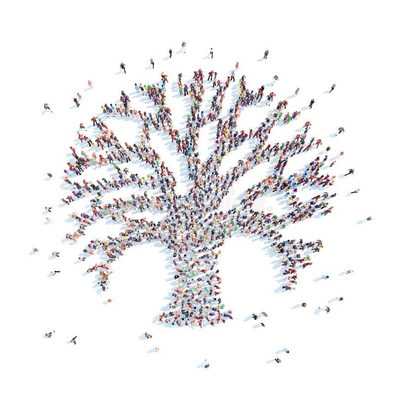 Mensen in de vorm van een boom royalty-vrije illustratie