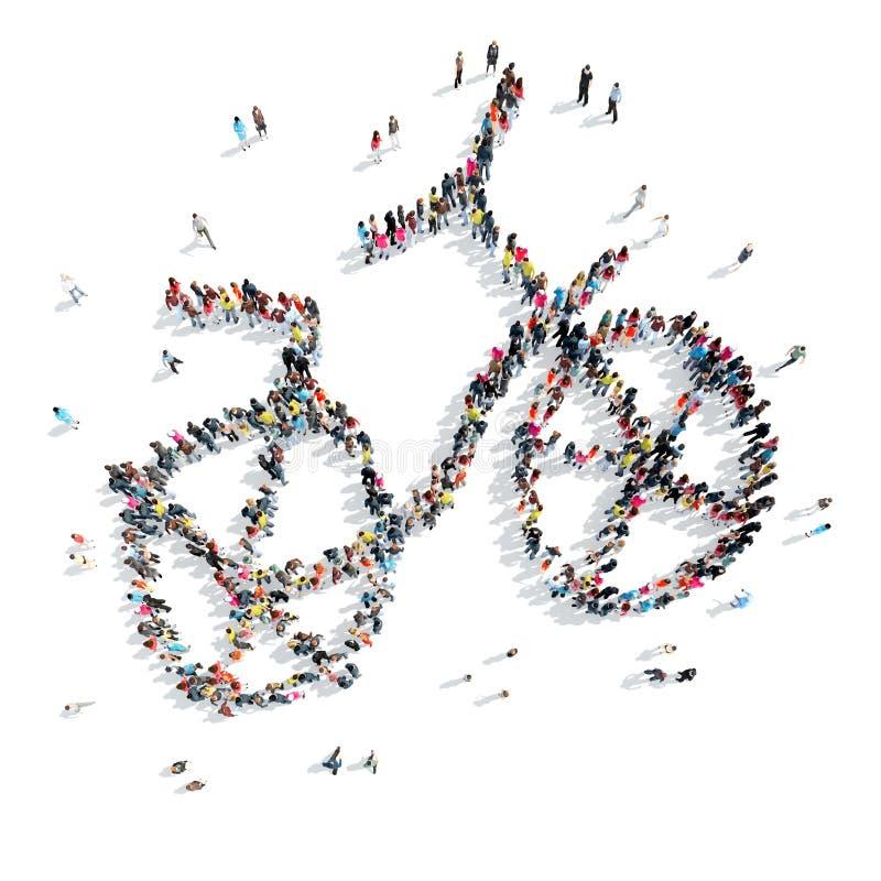 Mensen in de vorm van een fiets stock illustratie