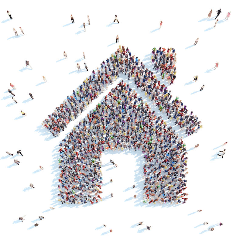 Mensen in de vorm van een huis royalty-vrije illustratie