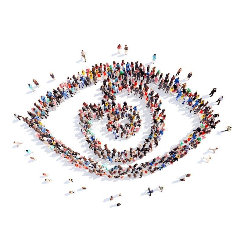 Mensen in de vorm van oog royalty-vrije illustratie