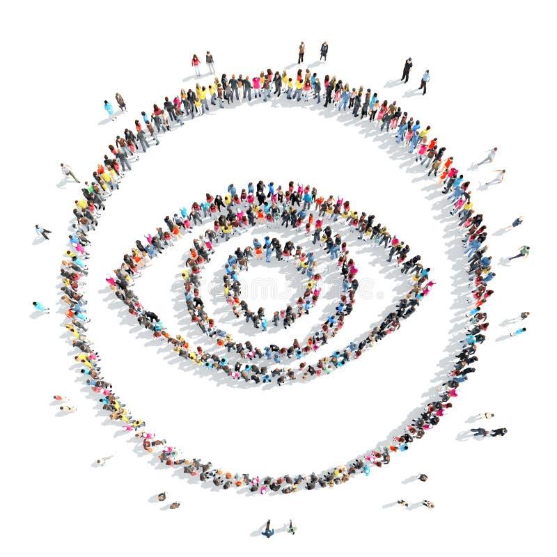 mensen in de vorm van oog vector illustratie