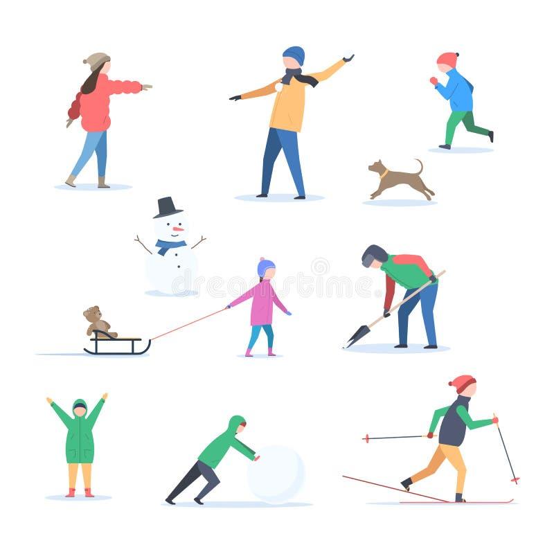 Mensen in de winter in openlucht royalty-vrije stock foto's