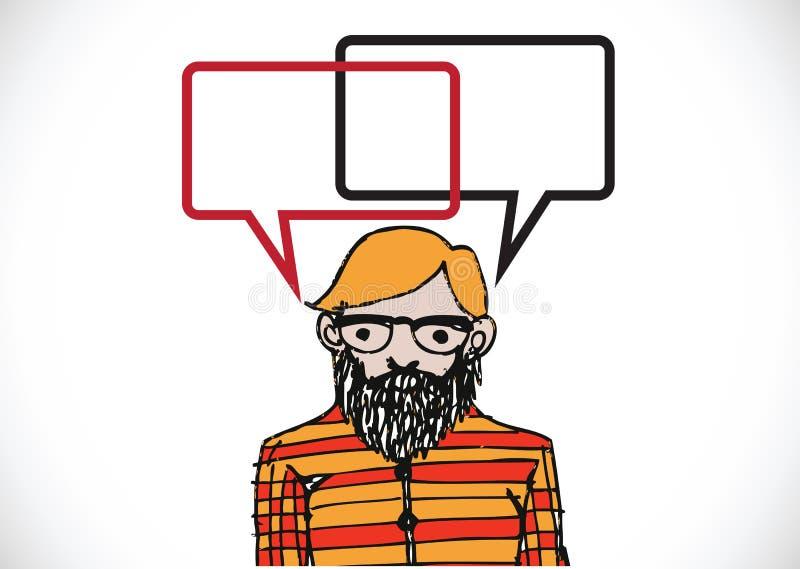 Mensen denken en volkeren die met de bellen van de dialoogtoespraak spreken stock illustratie