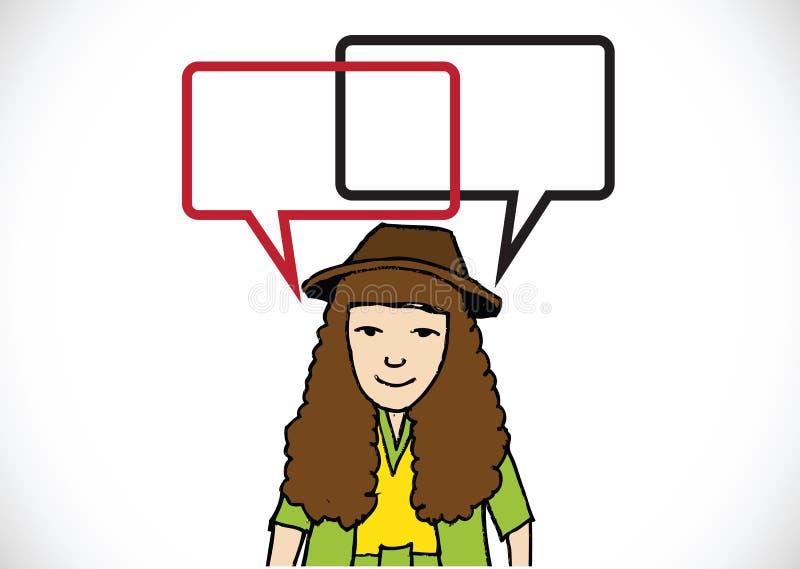 Mensen denken en volkeren die met de bellen van de dialoogtoespraak spreken royalty-vrije illustratie