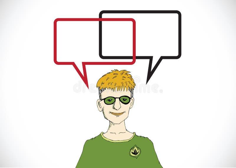 Mensen denken en volkeren die met Toespraakbel spreken stock illustratie