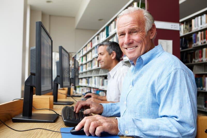 Mensen die aan computers in bibliotheek werken royalty-vrije stock fotografie