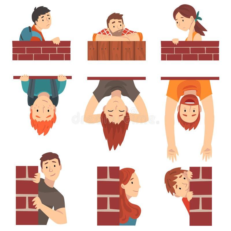 Mensen die achter Bakstenen muur en Piepende Vastgestelde Beeldverhaal Vectorillustratie verbergen royalty-vrije illustratie
