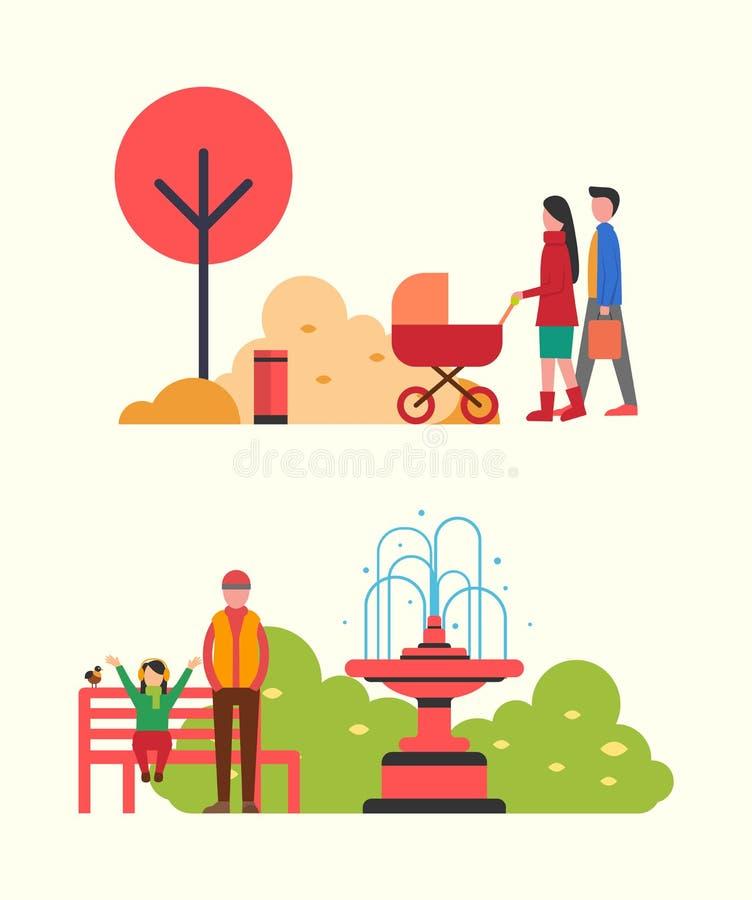 Mensen die in Autumn Park, Familie met Kinderwagen wandelen vector illustratie