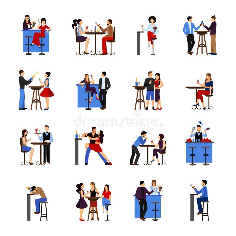 Mensen die in bar drinken vector illustratie