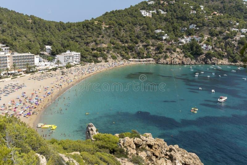 Mensen die bij Ibiza-strand zonnebaden stock afbeelding