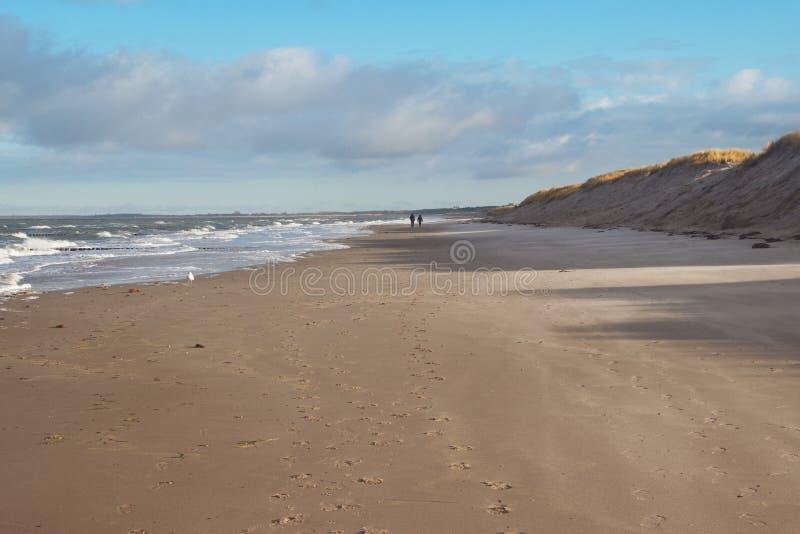 Mensen die bij kust lopen stock foto