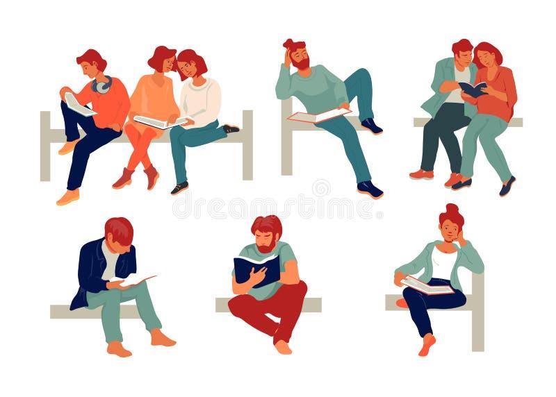 Mensen die boeken lezen en reeks van vlakke vector geïsoleerde illustratie bestuderen vector illustratie