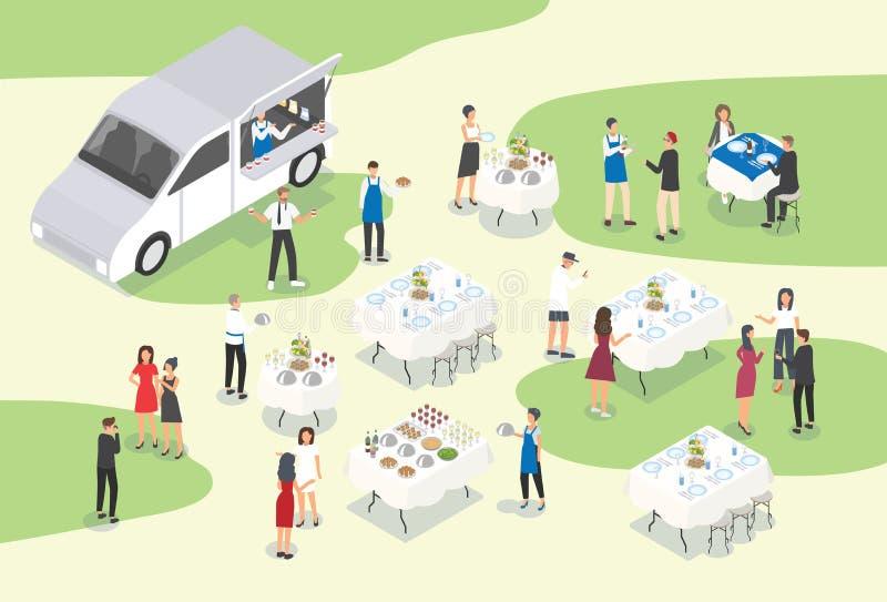 Mensen die catering verstrekken bij formele gebeurtenis of gelegenheid Groep die de arbeiders die van de voedseldienst lijsten pl royalty-vrije illustratie