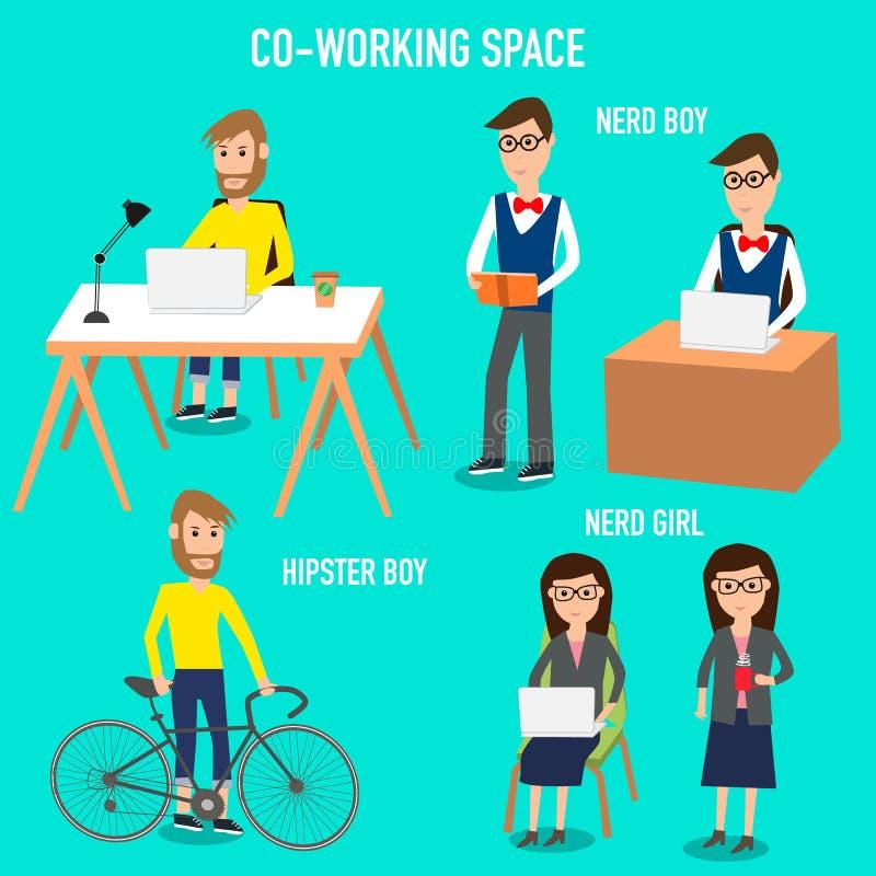 Mensen die in de mede-werkt ruimteinfographicselementen werken vector illustratie