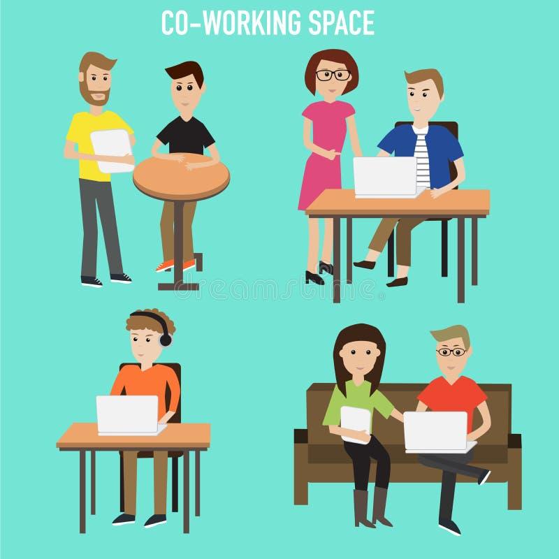 Mensen die in de mede-werkt ruimteinfographicselementen werken ziek vector illustratie