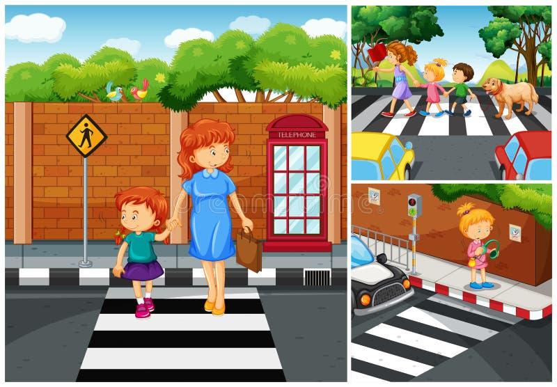 Mensen die de straat kruisen vector illustratie