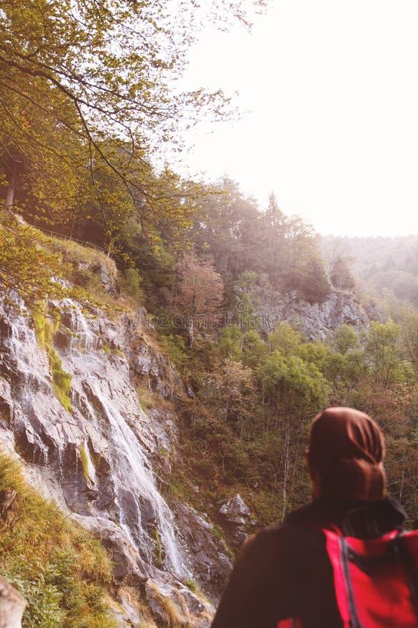 Mensen die de todtnauerwaterval bekijken, zwart bos royalty-vrije stock foto's