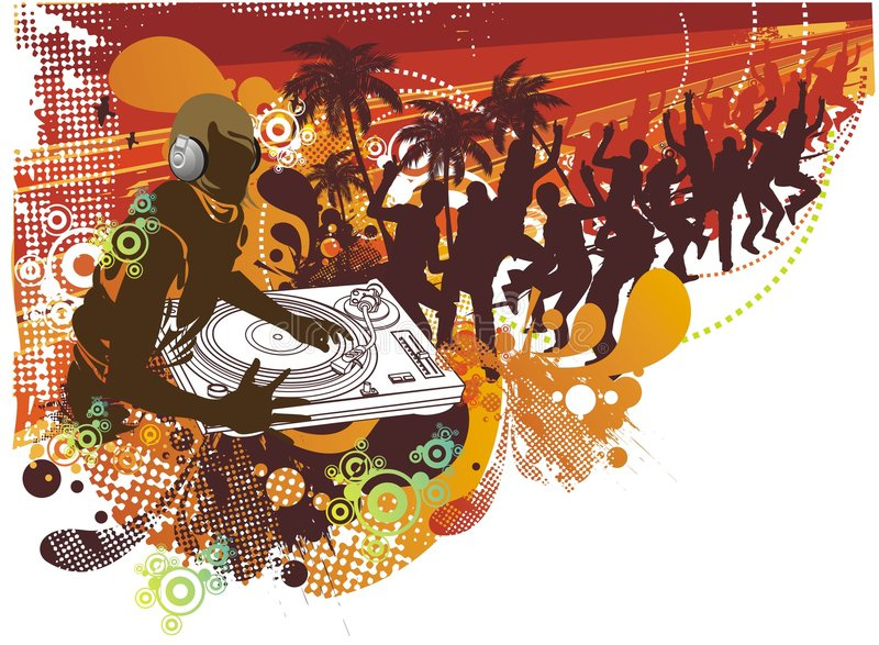 Mensen die in de zomer dansen stock illustratie