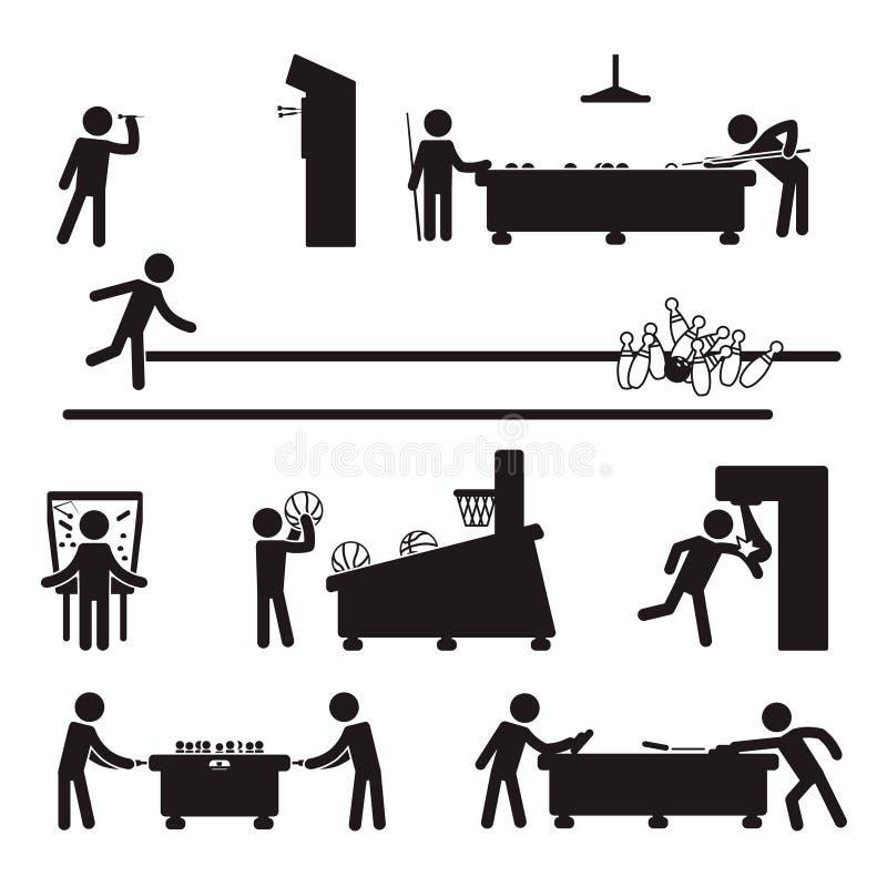 Kegelen, Pijltjes En Biljartschedels Vector Illustratie